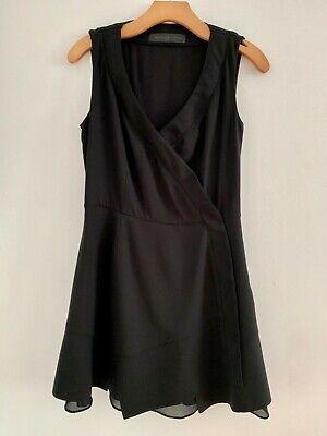 Proenza Schouler Black Silk Sleeveless Mesh Accent Mini Dress Sz 8 Accent Mini Dress