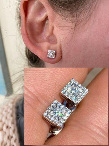 Mens Ladies Real Solid Sterling Silver Iced Diamond Cut Hip Hop Earrings Studs