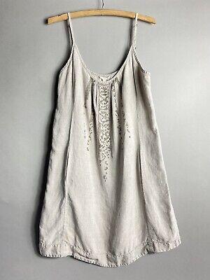 Eileen Fisher Organic Linen Sequin Detail Dress Large L READ FLAWS