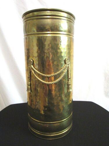 "Vintage Large 16.5""H x 7.5""L Brass Metal Rope & Tassel Cane Umbrella Stand"