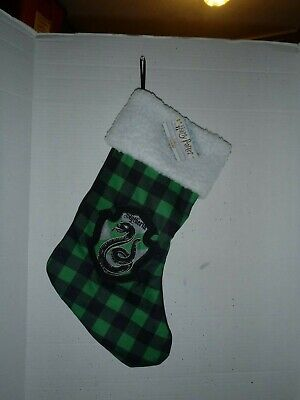 Slytherin Harry Potter Green Plaid House Crest Christmas Holiday Stocking NEW