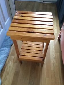 single stained side tables.