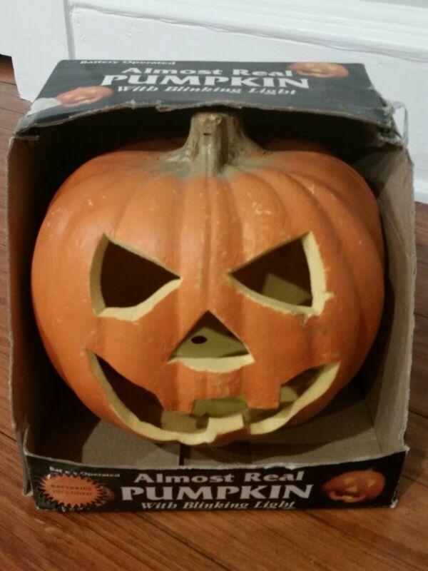 Vintage ALMOST REAL PUMPKIN Jack O Lantern HALLOWEEN 1980s BOXED