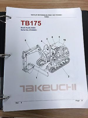 Takeuchi Tb175 Parts Manual Sn 17530001 And Up Free Priority Shipping