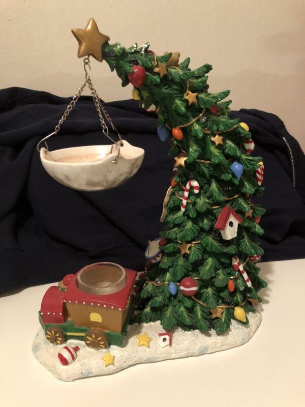 Yankee Candle Christmas Leaning Tree Ornament Train Wax Tart Burner Warmer