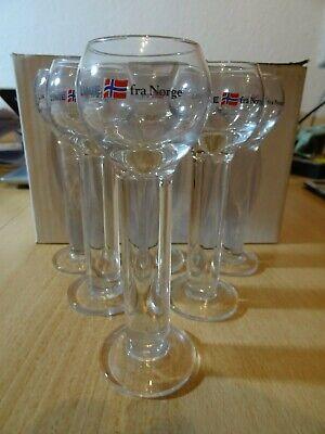 6 Linie Aquavit-Gläser = Fra Norge = mit 2 cl Eichung