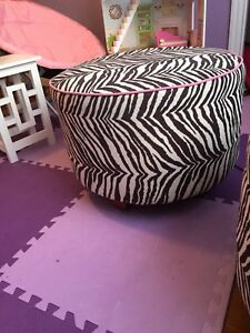 Large kids zebra print ottoman/ chair
