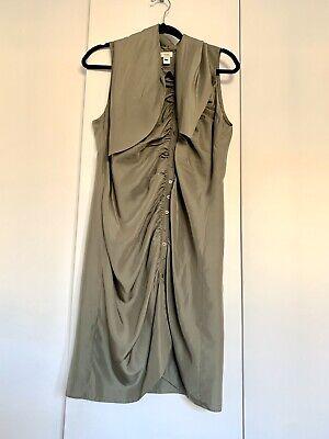 Hoss Intropia Ladies Khaki Silk Dress Size 42 UK 14 US 10