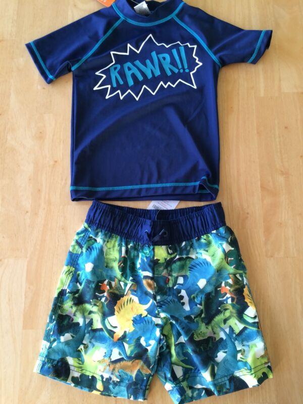 NWT Gymboree Boys Swimsuit Rash Guard Swim trunk Dinosaur Set 8 10 12 Blue