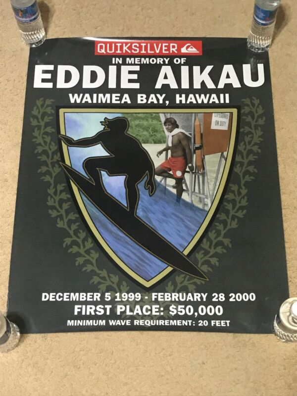 QUIKSILVER EDDIE AIKAU WOULD GO 1999-2000 WAIMEA BAY HAWAII RARE & OOP POSTER