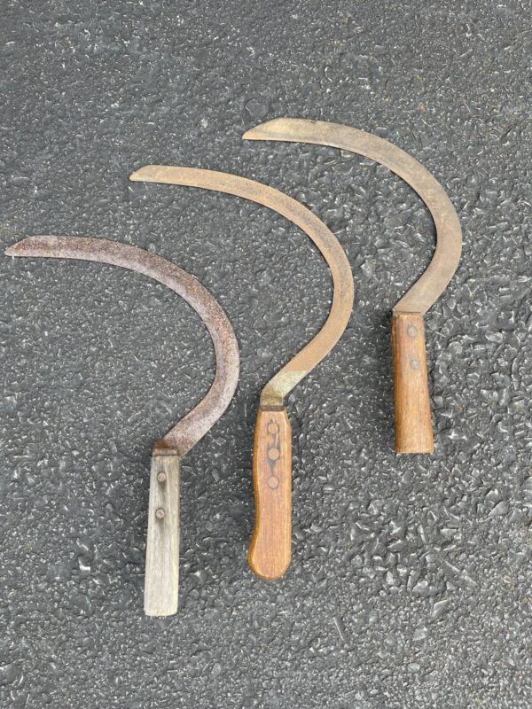 Hand Scythe Sickle Vintage Lot of 3 Primitive Farm Tool