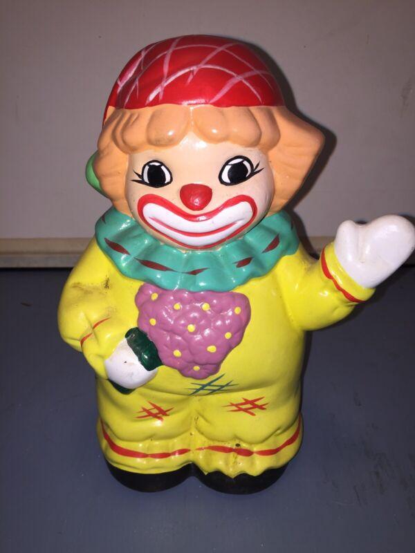 Vintage Ceramic Clown Figurine Piggy Bank 9 Inches Tall
