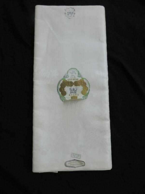 ELEGANT VINTAGE DOUBLE DAMASK IRISH LINEN TABLECLOTH~68 X 86~MWT~EASTER!