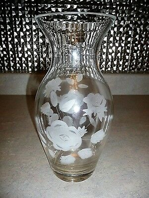 "Clear Glass ROSE FROSTED FLORAL ETCHED Flared 10"" Tall Flower VASE"