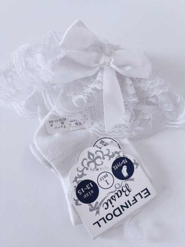 Girl Kid White Frilly Bow Ruffle School formal Dress Lace trim short Crew Socks