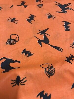 Halloween Fabric 1 Yard Bats,Cats, Spiders 100% cotton Quilting,crafting,sewing,