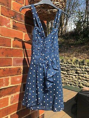 BNWT Girls/Ladies ABERCROMBIE & FITCH strap dress Size XS blue/white spot