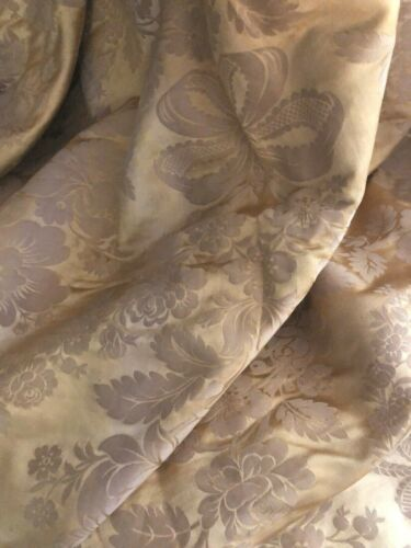 Antique French long GOLD DAMASK SILK coverlet BED COVER FRINGES  c1900