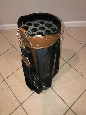 VINTAGE SPALDING STOVEPIPE CANVAS AND LEATHER GOLF BAG 99c511e08d