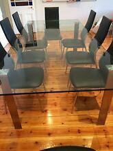 8 seater Glass dining table with stainless steel legs Rose Park Burnside Area Preview