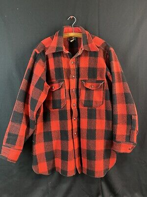 1940s Men's Shirts, Sweaters, Vests Vintage 1940's WOOLRICH Heavy Lumberjack Buffalo Flannel Button Up Shirt Jacket $70.00 AT vintagedancer.com