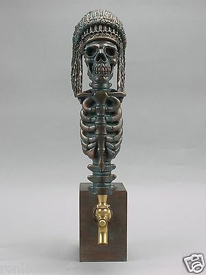 """CHIEF"" INDIAN WARRIOR SKULL BAR BEER TAP HANDLE DIRECT FROM RON LEE"
