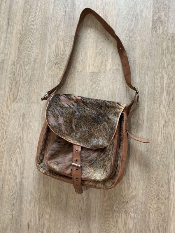 Vintage Pony Hair Calf Hair Leather Shoulder Bag