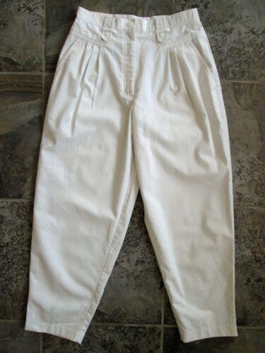 VTG Pheasant Hill Pants 5 26x24 Cropped Capri White Pleated High Waist Tapered