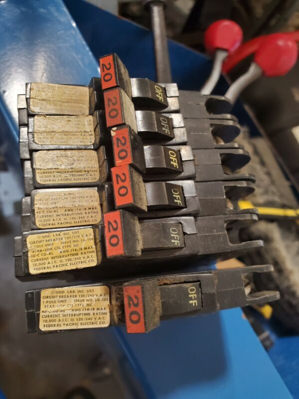lot 2 FPE Federal pacific NC120 20amp circuit breaker NC 20 type stab lok Thin