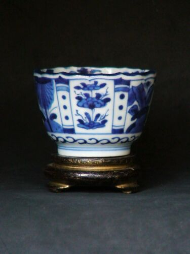 Antique Japanese Cup Edo Old Imari blue white Porcelain Sobachoko Soba Signed