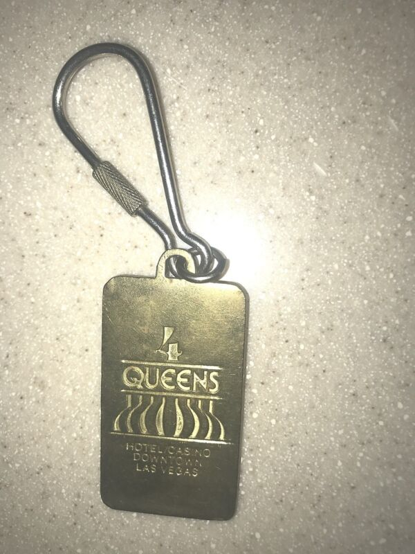 Four Queens Hotel Gold Heavy 999.9 Pure Brass Key Chain Las Vegas Nevada