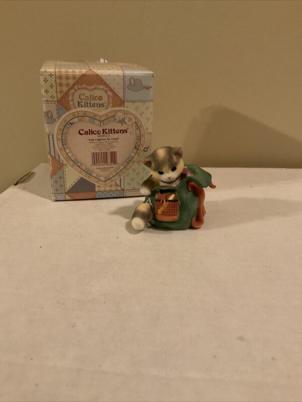 "Enesco CALICO KITTENS ""You Lighten My Load"" Cat In A Backpack 488623"