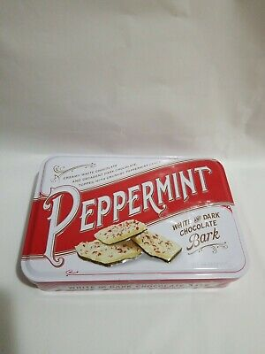 Peppermint White & Dark Chocolate Bark Candy 12oz . BB Oct.16 2020 / Metal Tin. Dark White Chocolate Peppermint Bark