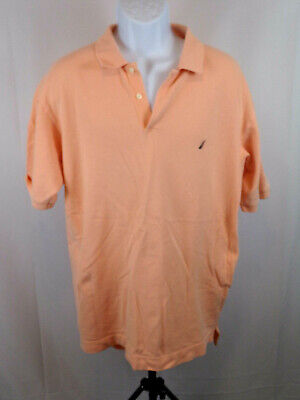Nautica Mens Large Peach Orange Short Sleeve Polo Casual Shirt A52