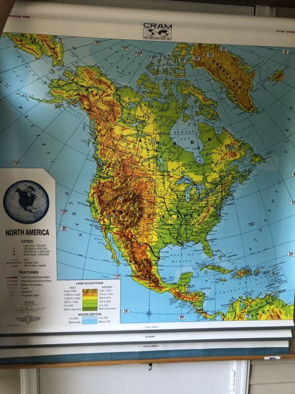 Vintage George Cram Co Pull Down Map. US, Europe, and South America