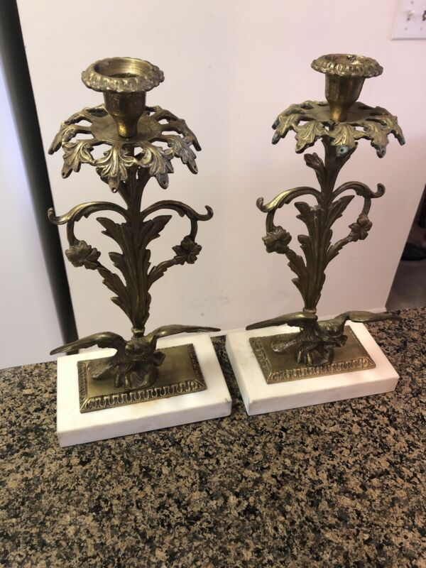 Pair Antique Brass Marble Base Girandoles Crystal Prism Candle Holder Federal