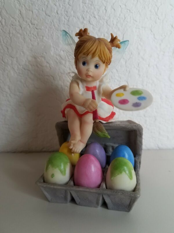 2008 Enesco My Little Kitchen Fairies Easter Artist Fairie 4012243 No Box Eggs