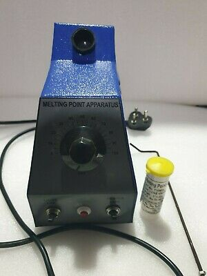 Melting Point Apparatus It Consists Of A Aluminum Block Which Accepts Three Capi