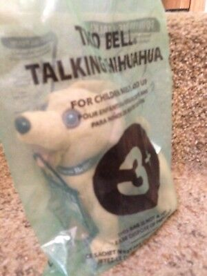 Talking 1999 Taco Bell Chihuahua Dog Bean Bag with all its tags and labels.