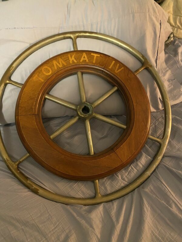"VINTAGE Edson AUTHENTIC 24""  NAUTICAL SHIPS WHEEL Brass Teak Rare Name On It."