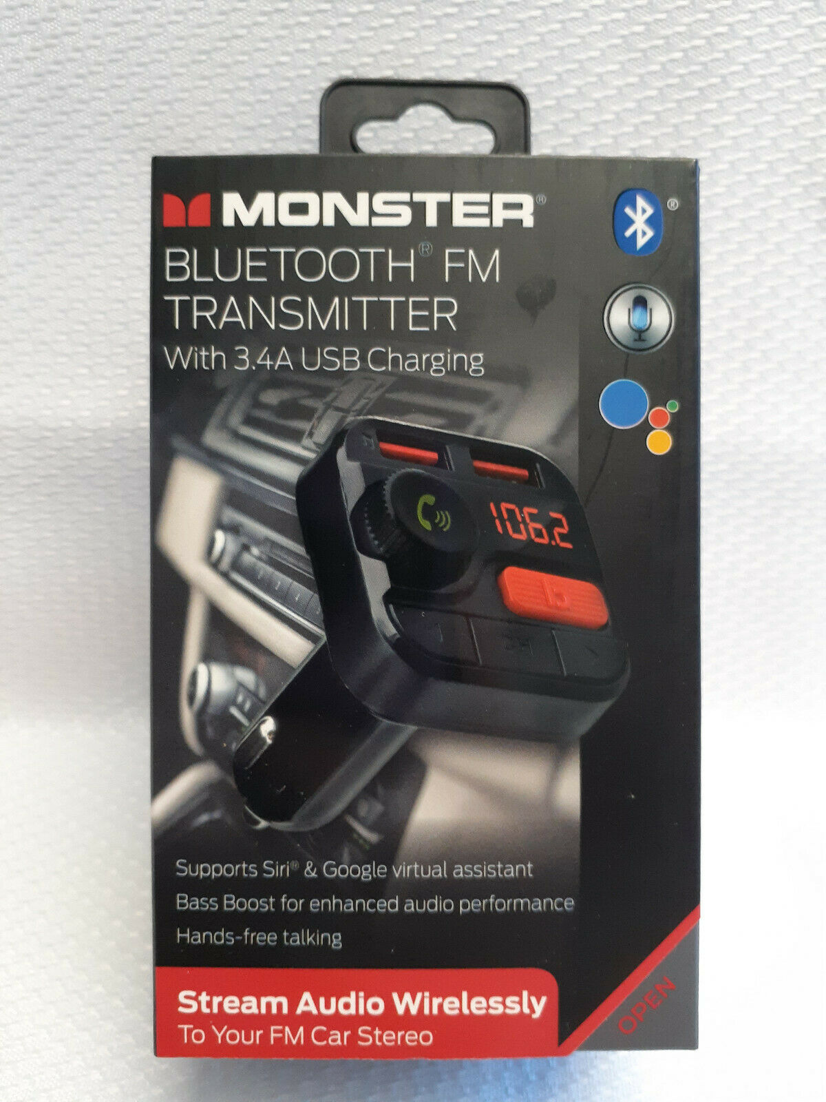 MONSTER BLUETOOTH FM TRANSMITTER WITH 3.4 USB CHARGING #MCC9