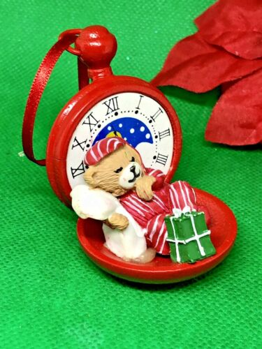Sleepy Bear Red Stopwatch Christmas Ornament