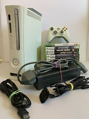 Microsoft Xbox 360 60GB Console Bundle - 10 Games - Controller - All Cables