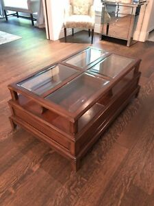 Solid hardwood coffee table with glass inserts