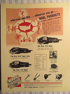 1948 Vintage Barbershop WAHL Clipper Varieties & Tools Sign Ad Prices