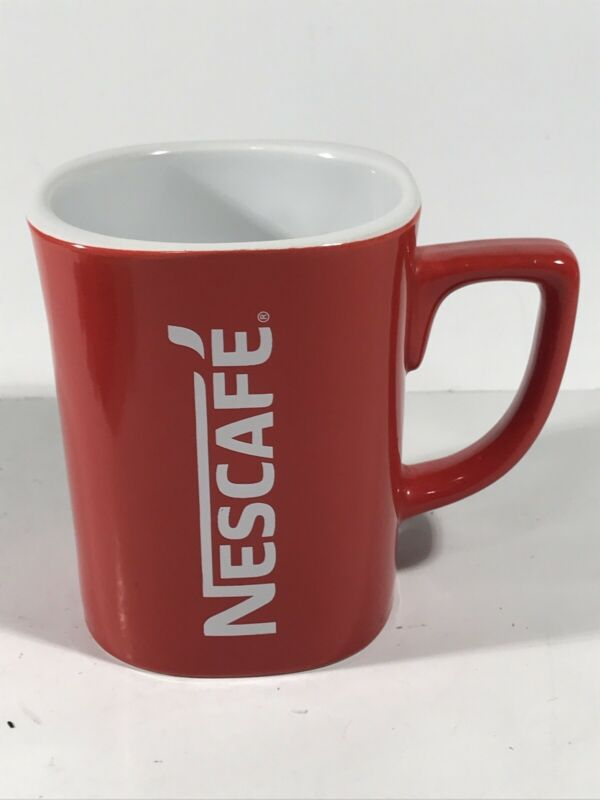 Nestle Nescafe Coffee & Tee Mug Cup Red Vintage Premium Genuine Product 3 7/8""