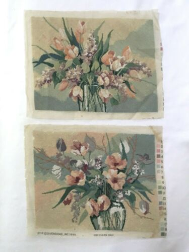 """DIMENSIONS COMPLETED NEEDLEPOINT SQUARES 1986  FLORAL 18"""" BY 14""""  ~ LOT OF 2"""