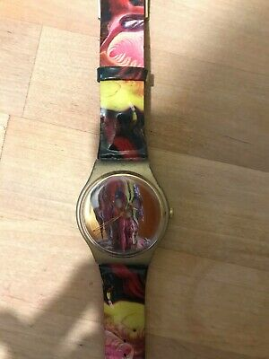 Vintage Swatch Watch Women's Red and Gold w/ skull image
