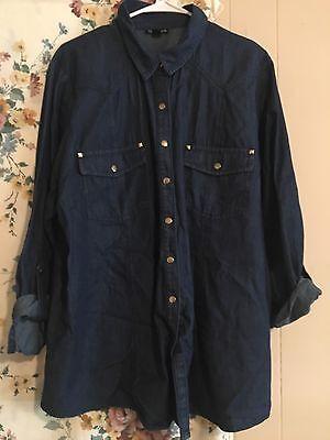 Denim Long Sleeve Button Up Plus Size 2x Women's Shirt