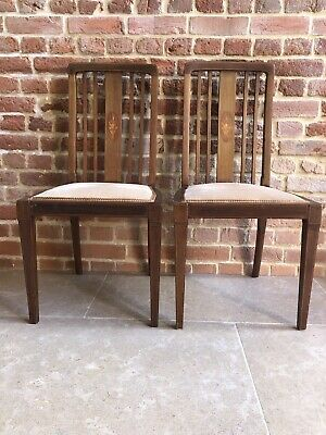 Pair Of Fireside Chairs, Nursery Chairs with Maquetry Detail